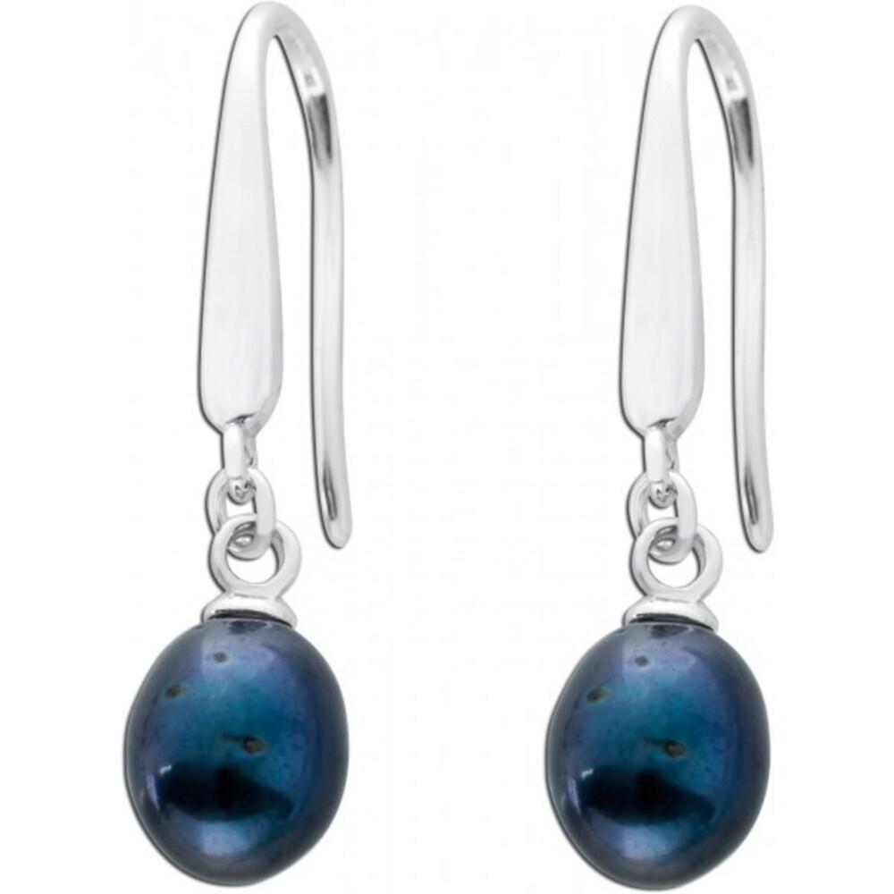Ohrringe Perlen Ohrhänger Silber 925 grau Süßwasserzuchtperlen_02
