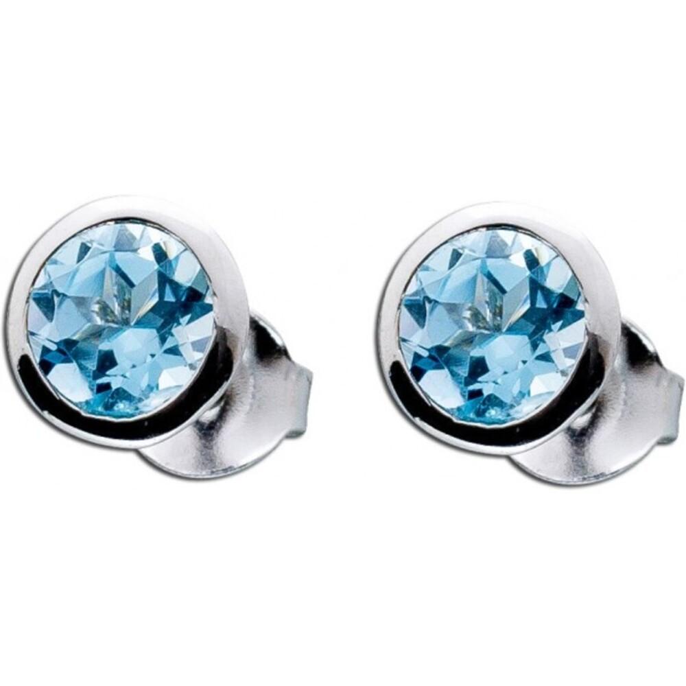 Ohrringe hellblau Sterling Silber 925 Edelsteinohrstecker Blautopas _01
