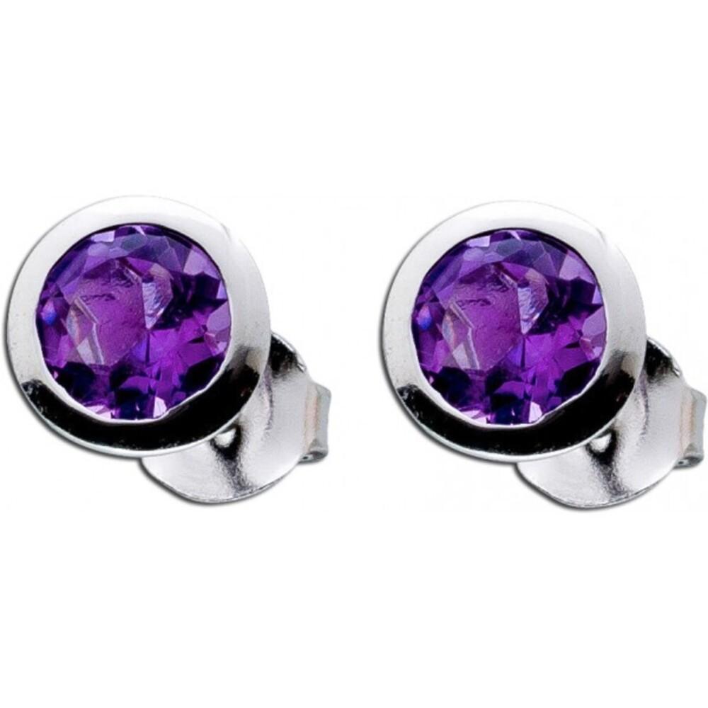 Amethyst Ohrringe lila Edelstein Silber 925 violetter Solitaer Ohrstecker 2