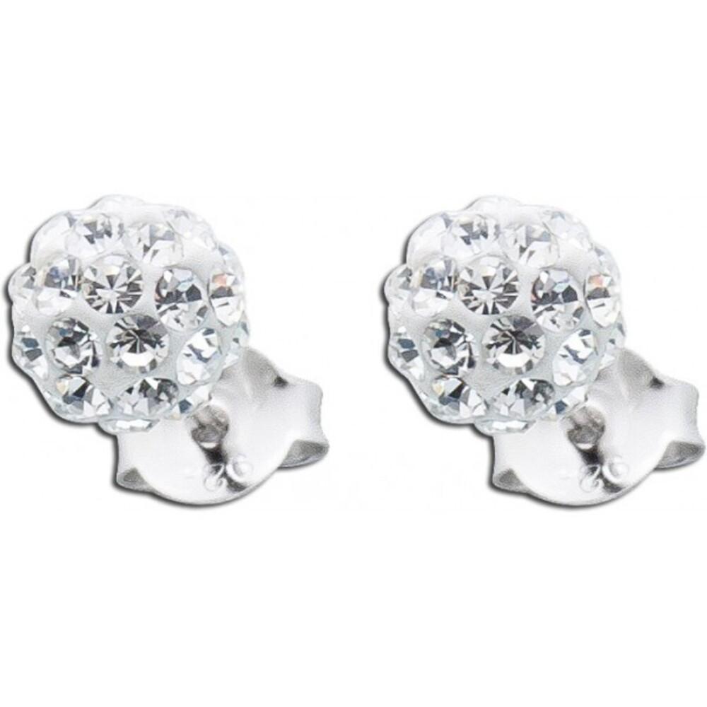 Weisse Kristallohrstecker Ohrringe Silber 925 funkelnd_01