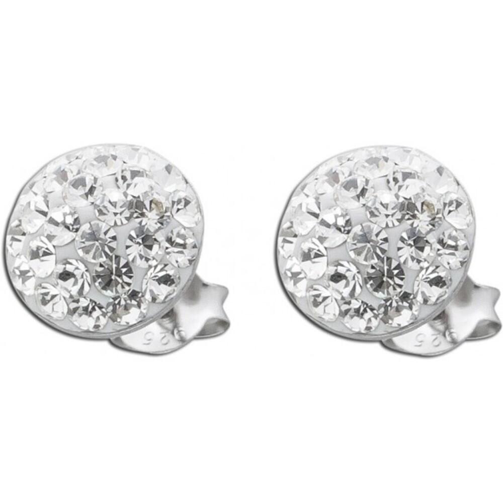 Ohrringe Silber - Märchenhafte Kristall Ohrstecker 22 Kristallen Silber 925