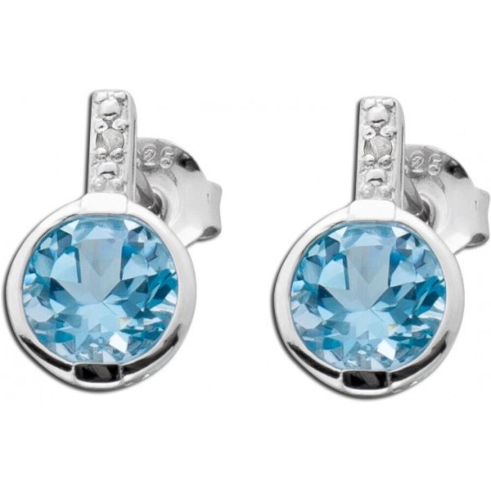Blautopas Silberohrringe wasser blau Edelstein Diamanten_01