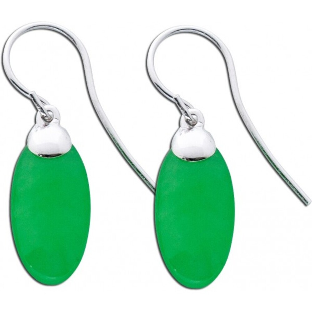 Jade Ohrringe  Ohrhänger Silber 925 grüne Jade grüner Edelstein_01