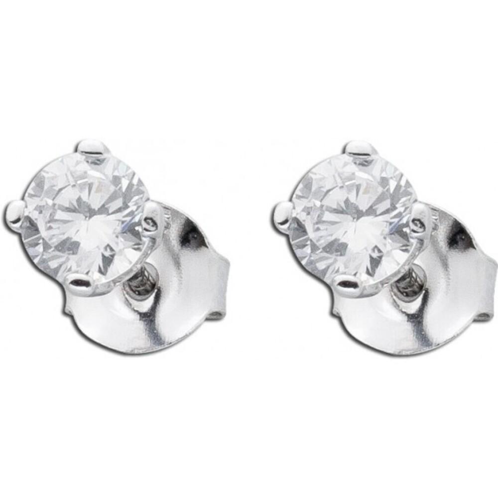 Ohrringe Silber  Solitärohrstecker Zirkonia Ohrstecker Sterling Silber 925 weisse Zirkonia 5mm_01