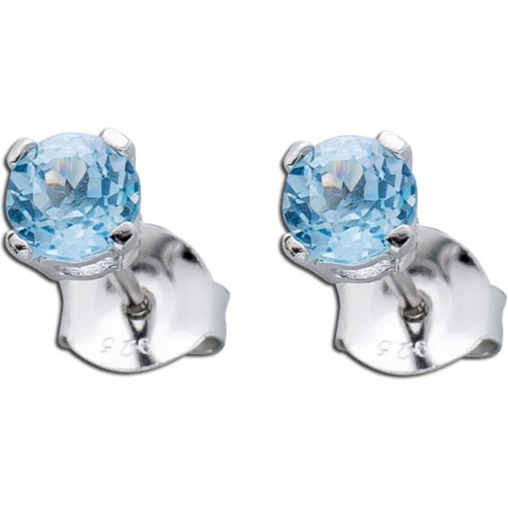 Blaue Ohrringe Silber 925 Blautopas Ohrstecker_01