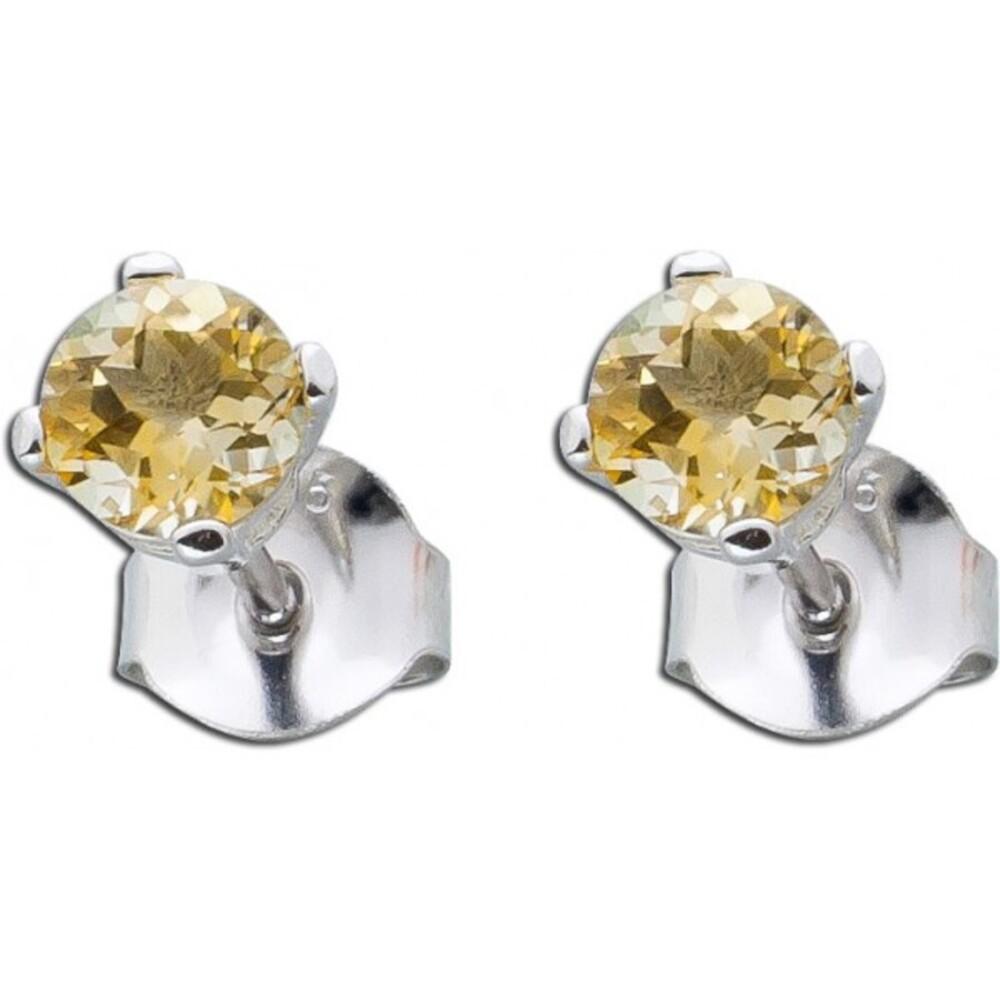 Ohrringe gelber orange Citrin Edelsteinohrstecker Silber Sterling 925