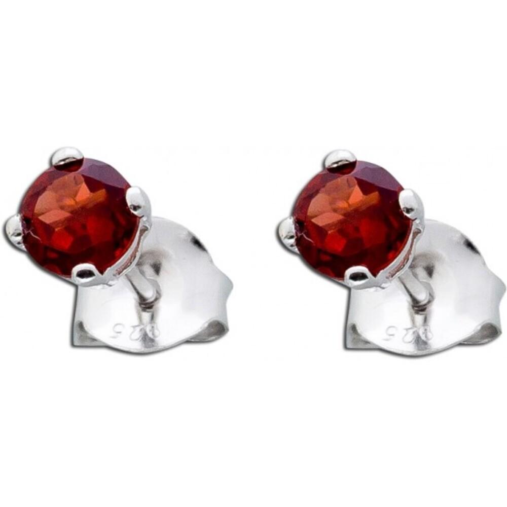 Ohrringe Silber 925  - Ohrstecker roter facettierter Granat
