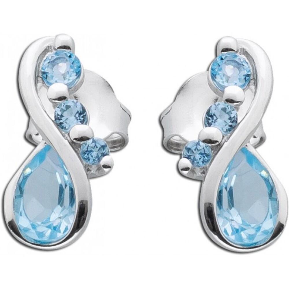 Blau Ohrstecker Sterling Silber 925 Blautopas blauer Edelstein _01