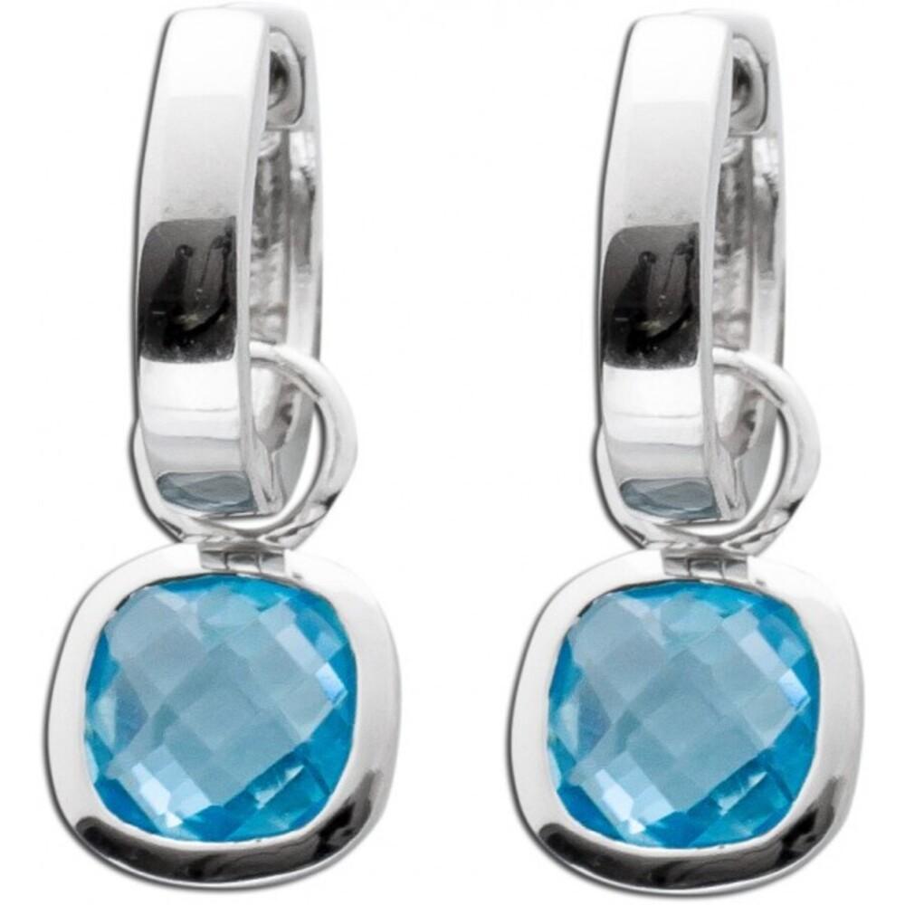 Blautopas Ohrringe Silber 925 Creolen blauer Edelstein_01