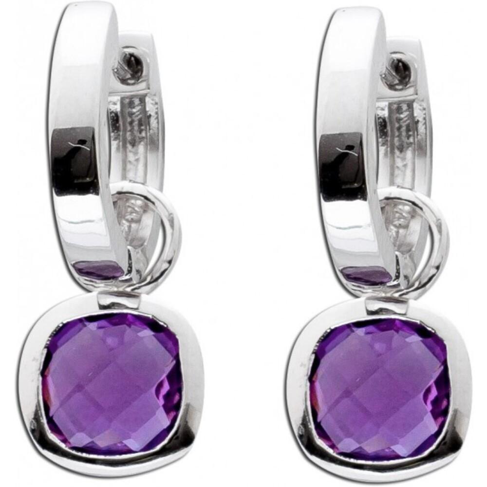 Violetter Klappcreolen echter Silber 925 lilafarbener Amethyst  Ohrhänger Solitär Oval 2