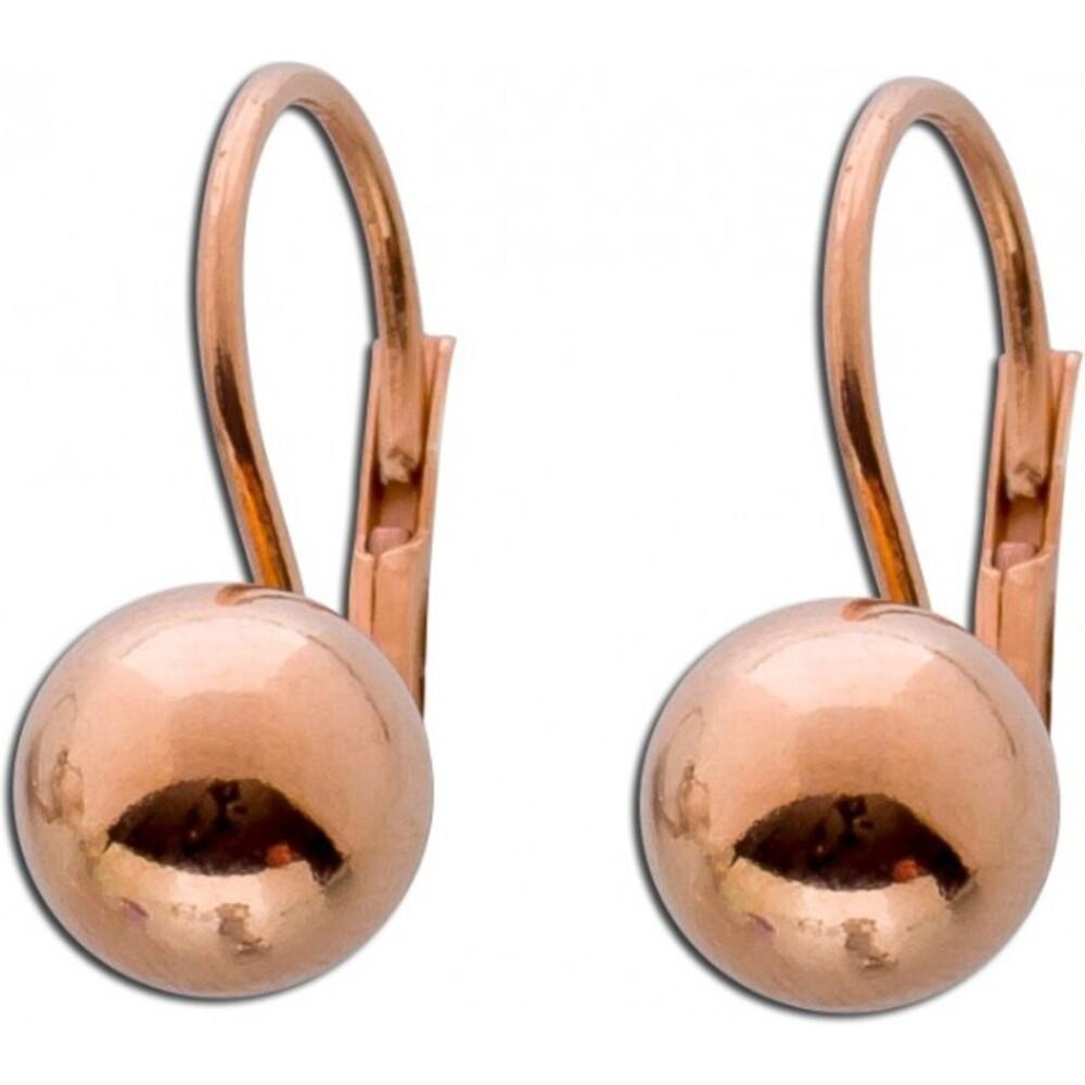 Kugel Ohrringe Ohrhänger Brisurohrringe Sterling Silber 925 Kugel rosé vergoldet Ø 8mm_01