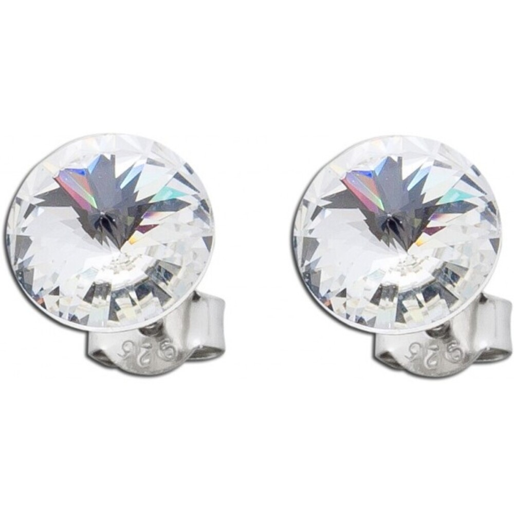 Ohrringe Ohrstecker klar Silber 925 Swarovski Elements Ø 8mm_01