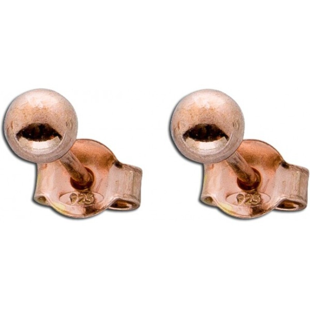Ohrringe Ohrstecker Kugelohrstecker Silber Ohrringe Sterling Silber 925 rosé vergoldet Ø 6mm_01