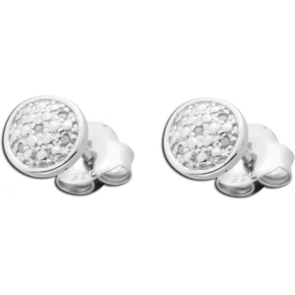 Ohrstecker aus rhodiniertem Sterlingsilber poliert mit 10 Diamanten 267172100