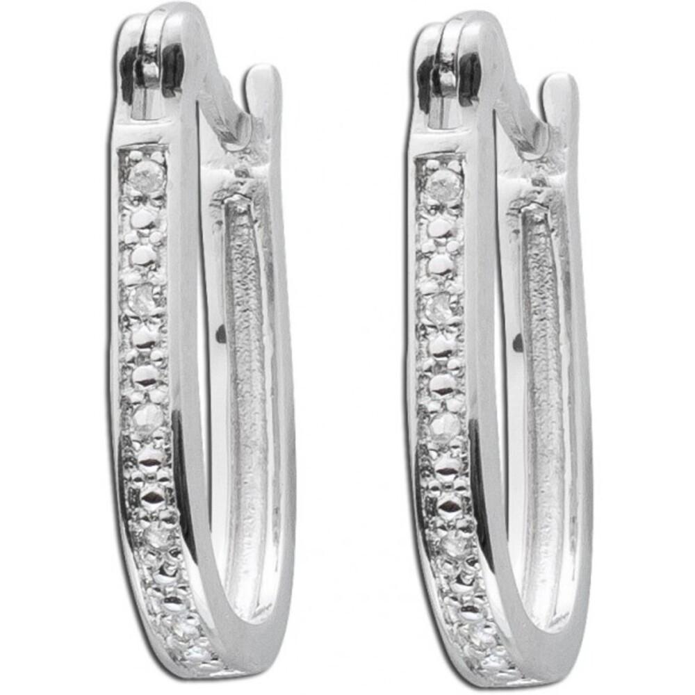 Diamanten Ohrringe 2  Brillant Kreolen weiss 925 Silber