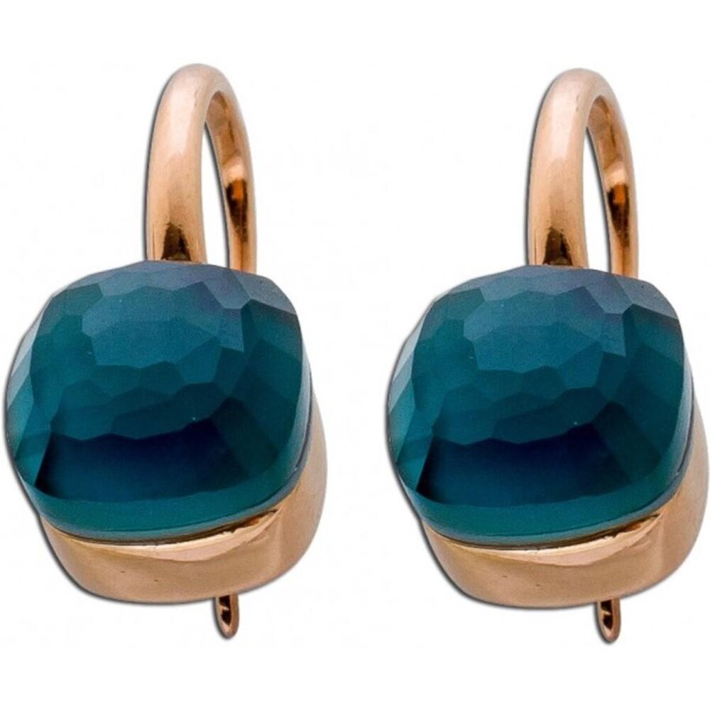 Ohrringe rose Ohrhänger Sterling Silber rose vergoldet Perlmuttplatte blauer Zirkonia 2