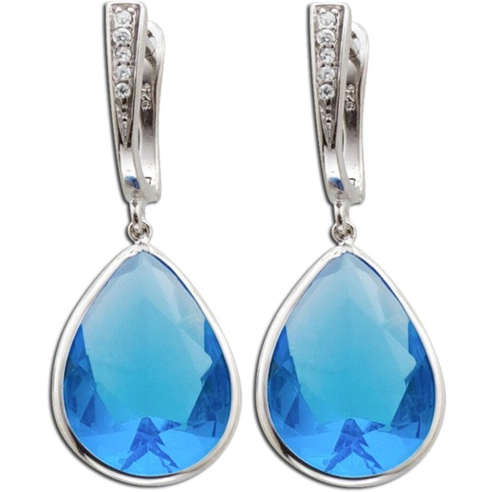 Blaue Zirkonia Ohrringe Silber 925/-  Blautopas synth_01