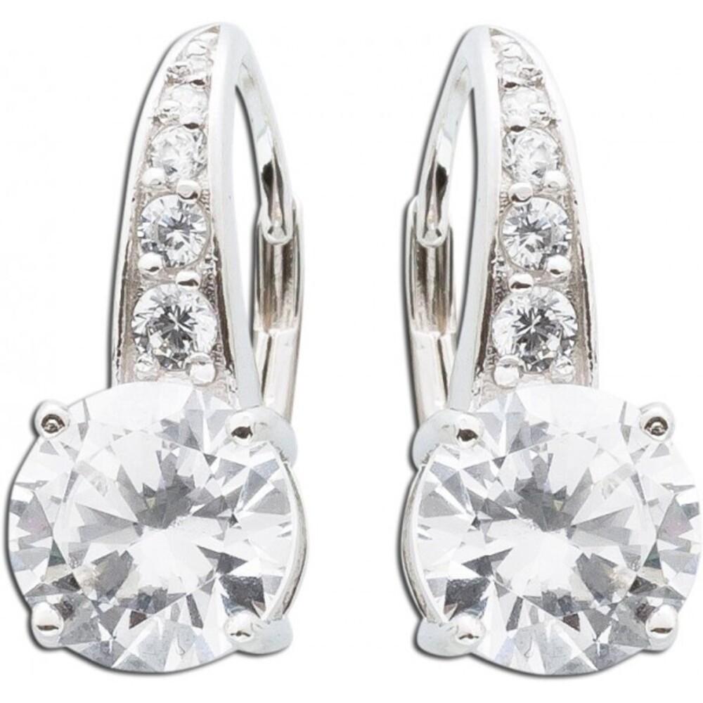 Runde weiße Zirkonia Ohrhänger Sterling Silber 925  1