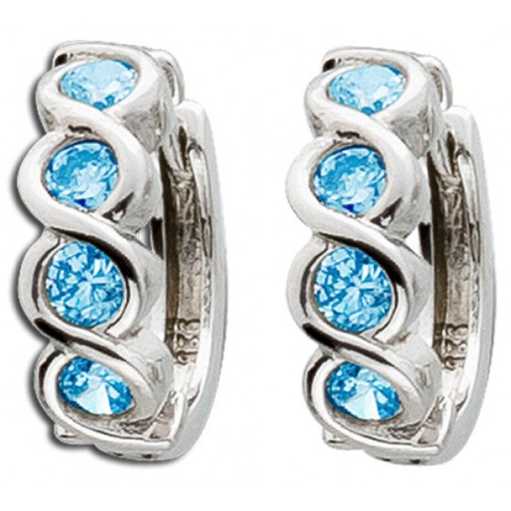 Klappcreolen Blautopas Sterling Silber 925 blaue Edelstein Ohrringe_01