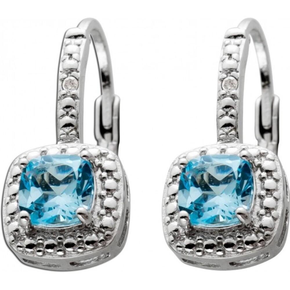 Blautopas Ohrringe Silber 925 weiße Diamant Blaue Edelsteine_01