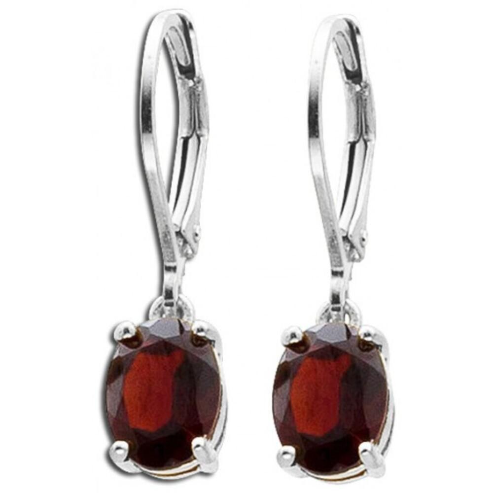 Rote Edelstein Ohrringe Ohrhänger Silber 925 Granat_01