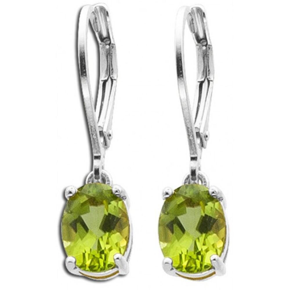 Grüne Edelstein Ohrringe Ohrhänger Silber 925 grüner Peridot Brisur _01