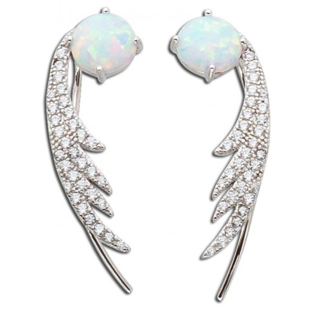 Opal Ohrringe Fakepiercing Silber 925 Zirkonia weiss_01