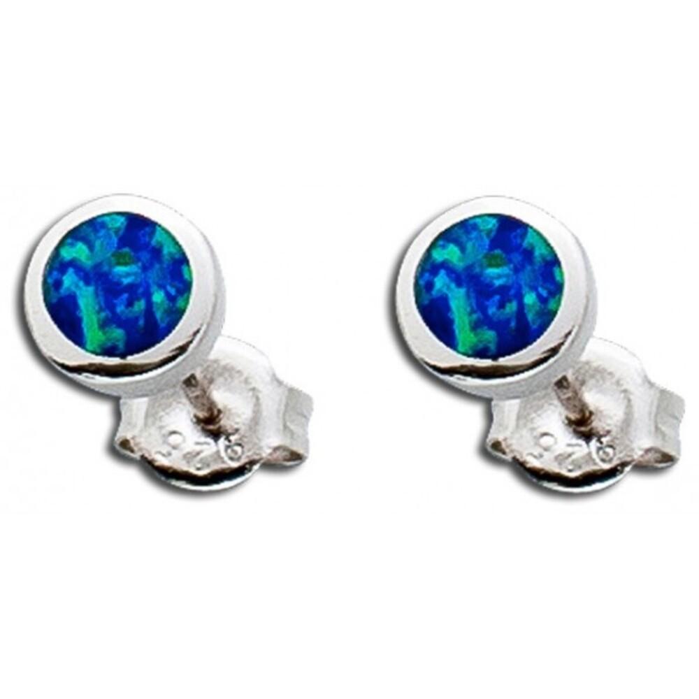 Opal Ohrringe Ohrstecker Silber 925 blau synth_01