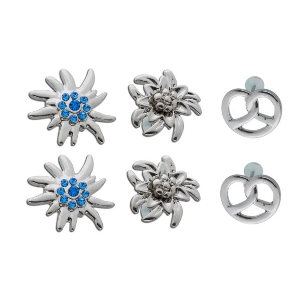 Trachtenschmuck Ohrringe Ohrstecker Edelweiss Brezel silber farbenes Metall Set 3 Paar Crystal Blue_1