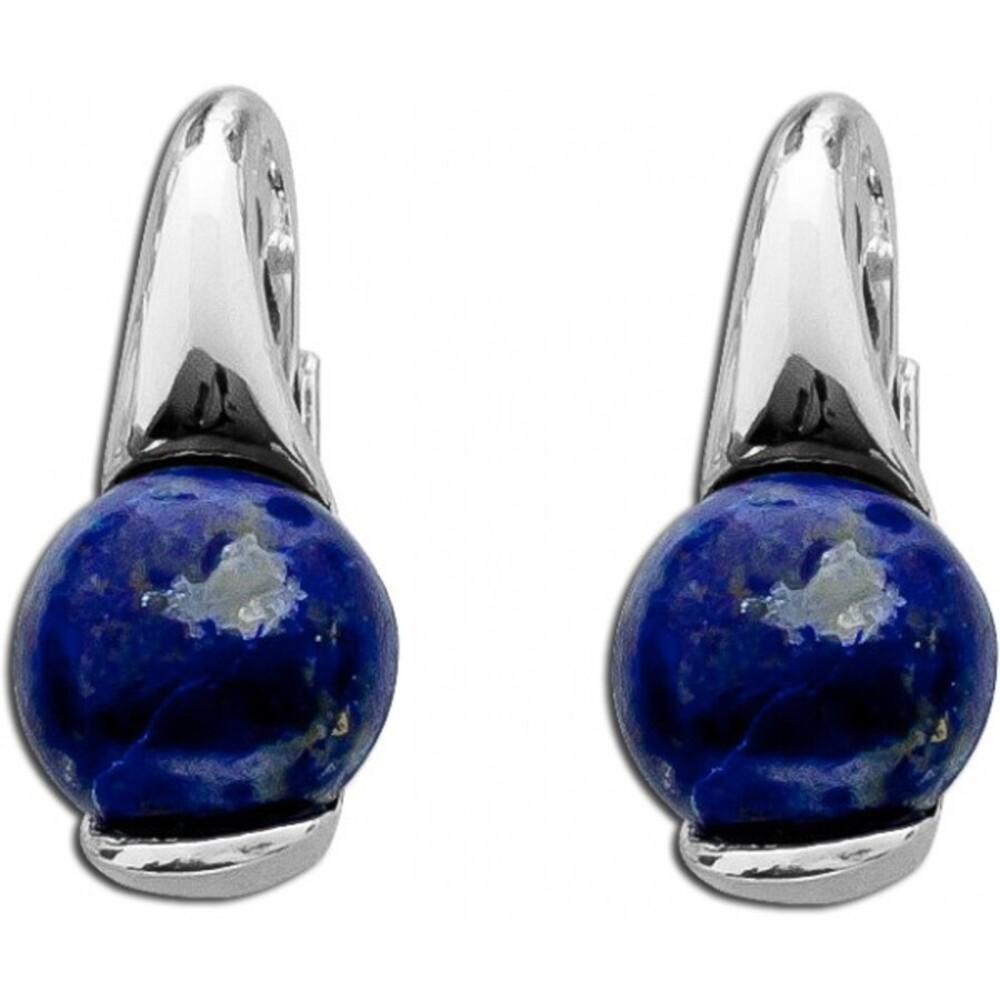 Ohrringe Ohrhänger T-Y Sterling Silber 925 rhodiniert blauer Lapislazuli
