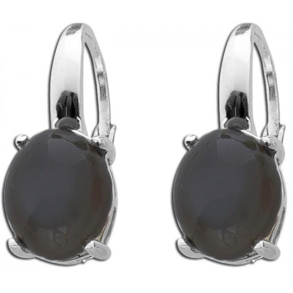 Schwarze Mondstein Ohrhänger Sterling Silber 925 Edelstein Ohrringe T-Y 1