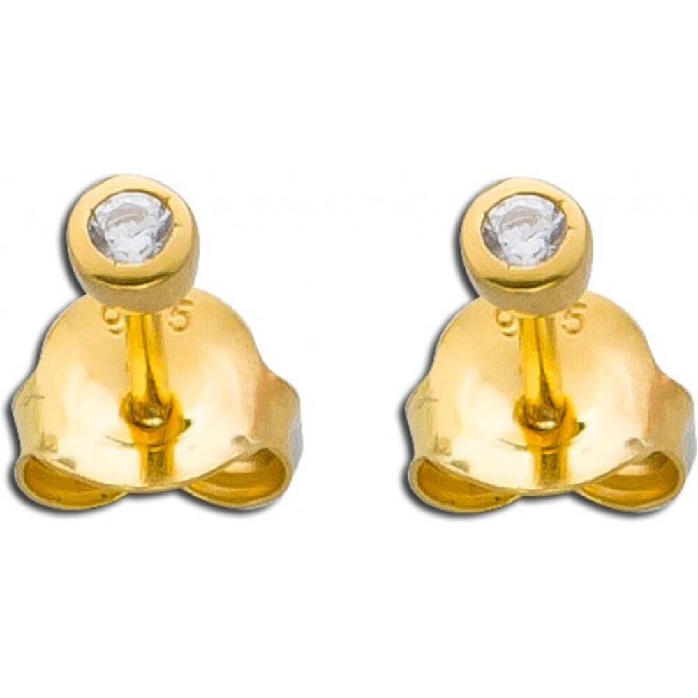 Ohrringe Ohrstecker Sterling Silber 925 gelb vergoldet Zirkonia_267804