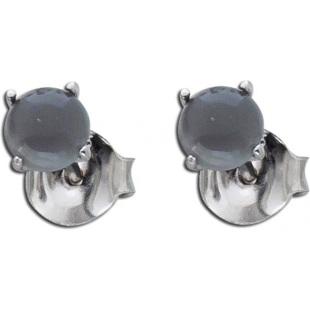 Schwarze Mondstein Ohrstecker Silber 925 Edelstein Ohrringe 1