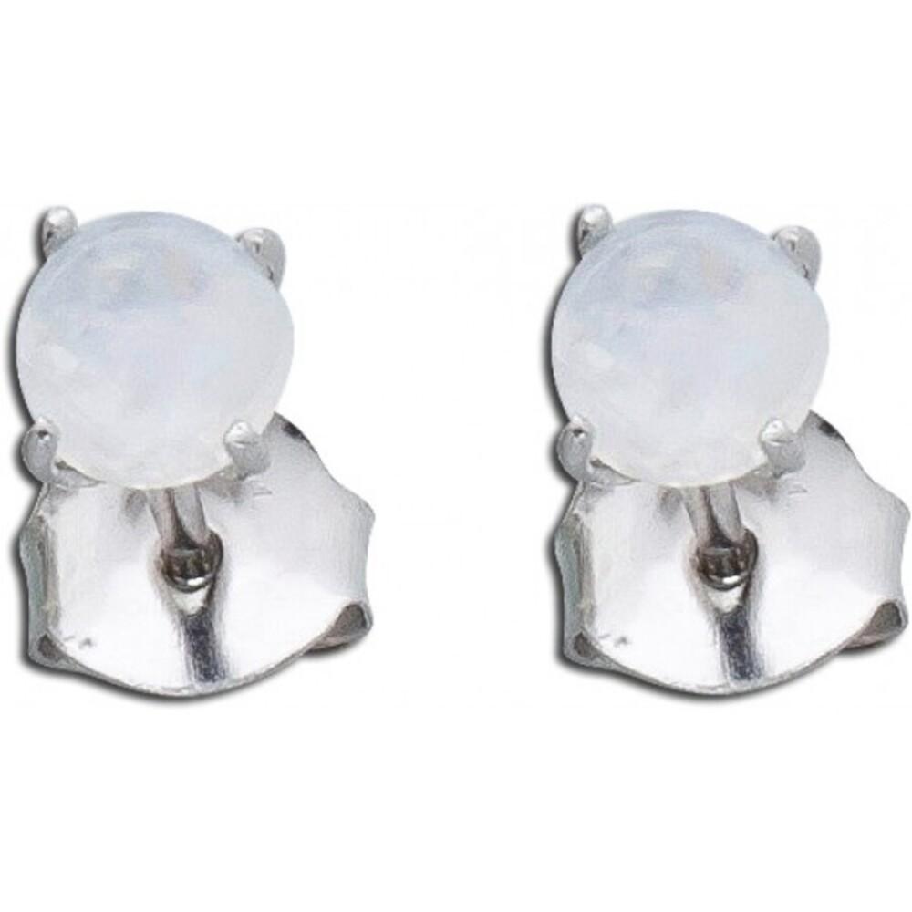 Ohrstecker Mondstein regenbogenfarben Ohrringe Silber 925 Edelsteinschmuck 1