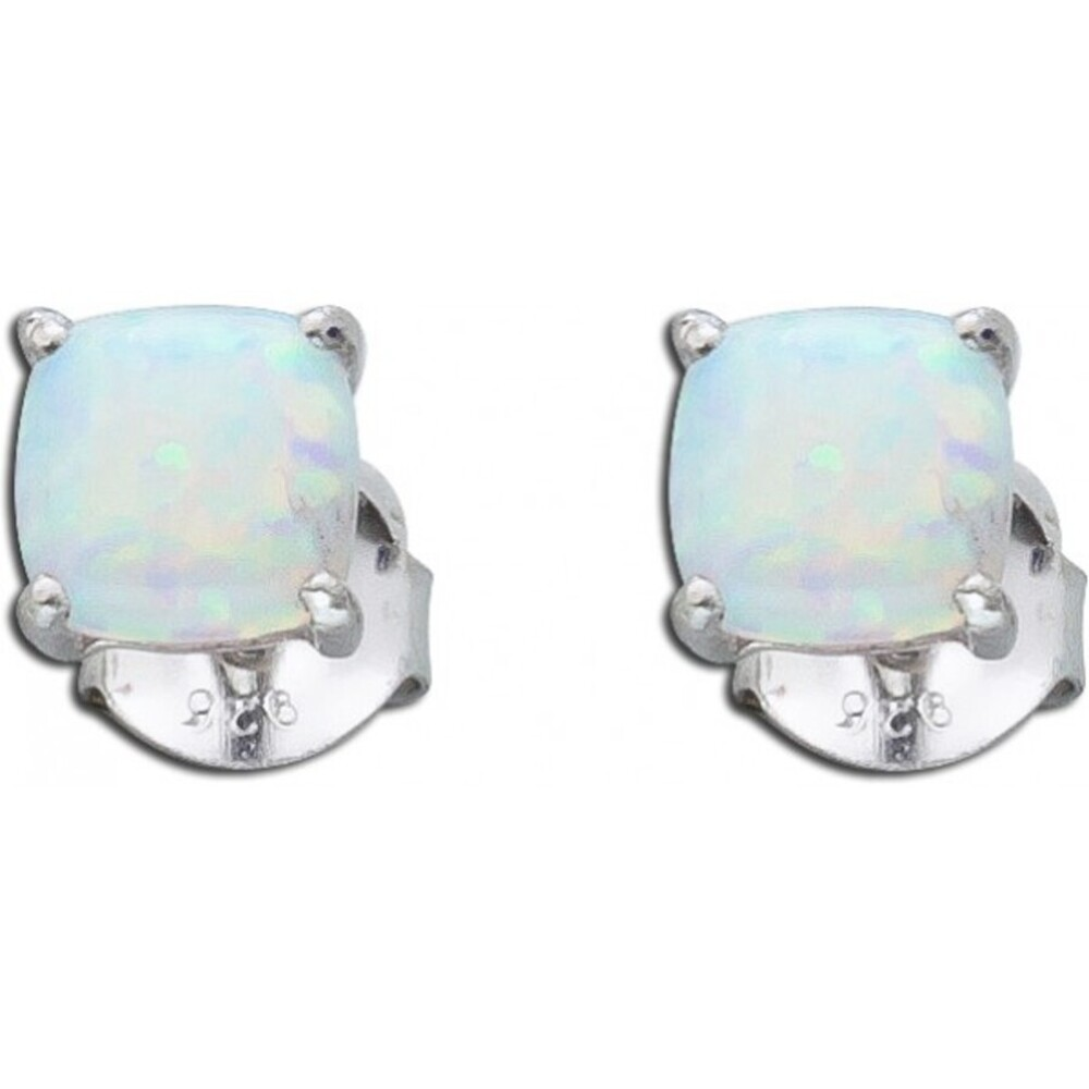 Opal Ohrringe Ohrstecker blau weis Silber 925 synthetis_01