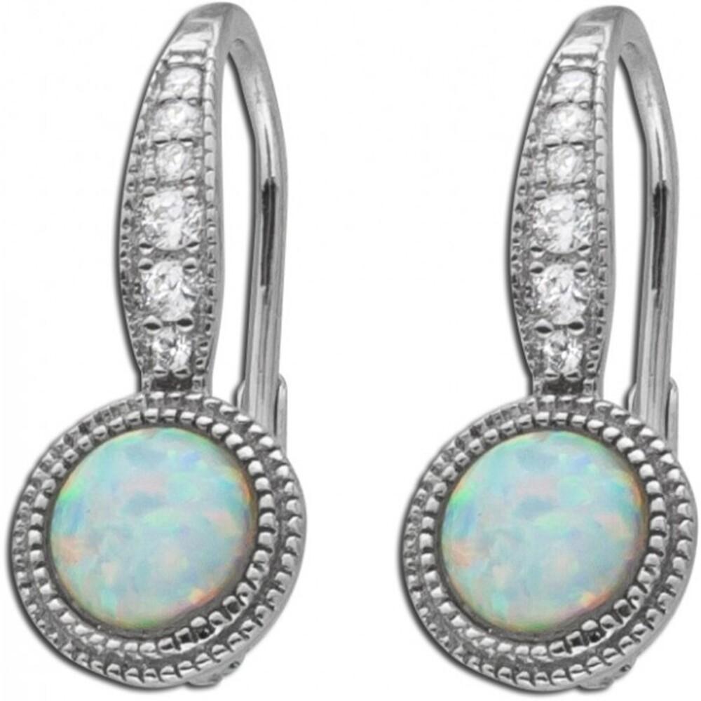 Opal Ohrringe Ohrhänger Silber 925 weiß Zirkonia synth_01