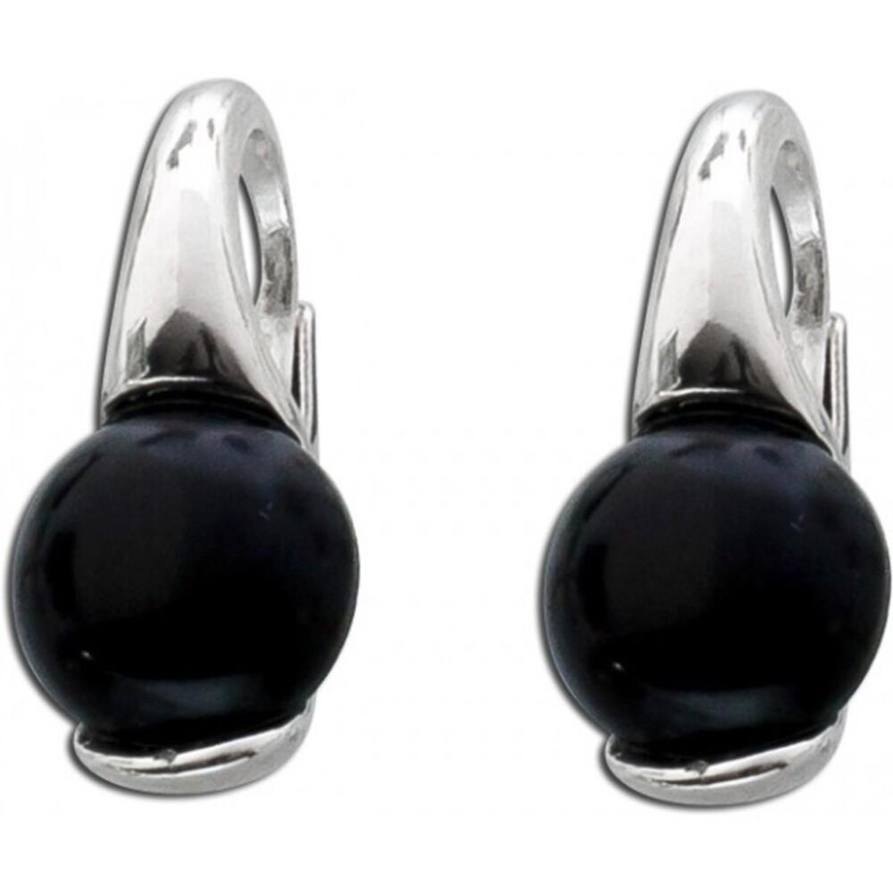 Schwarze Onyx Edelstein Ohrringe Ohrhänger Silber 925 1