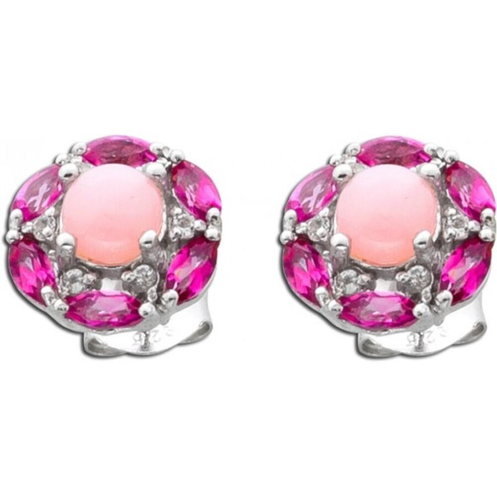 Rosa Opal Ohrringe Ohrstecker Silber 925 pinke Topase weiße Topase  pink weisse Edelsteine_01
