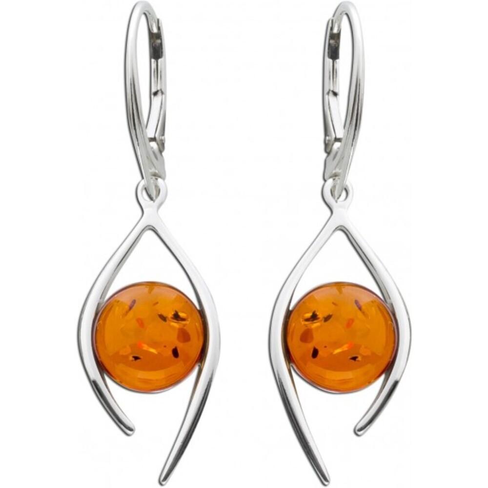 Ohrhänger Bernstein Ohrschmuck Braun Cognac Orange Silber 925 Edelsteinohrring 1