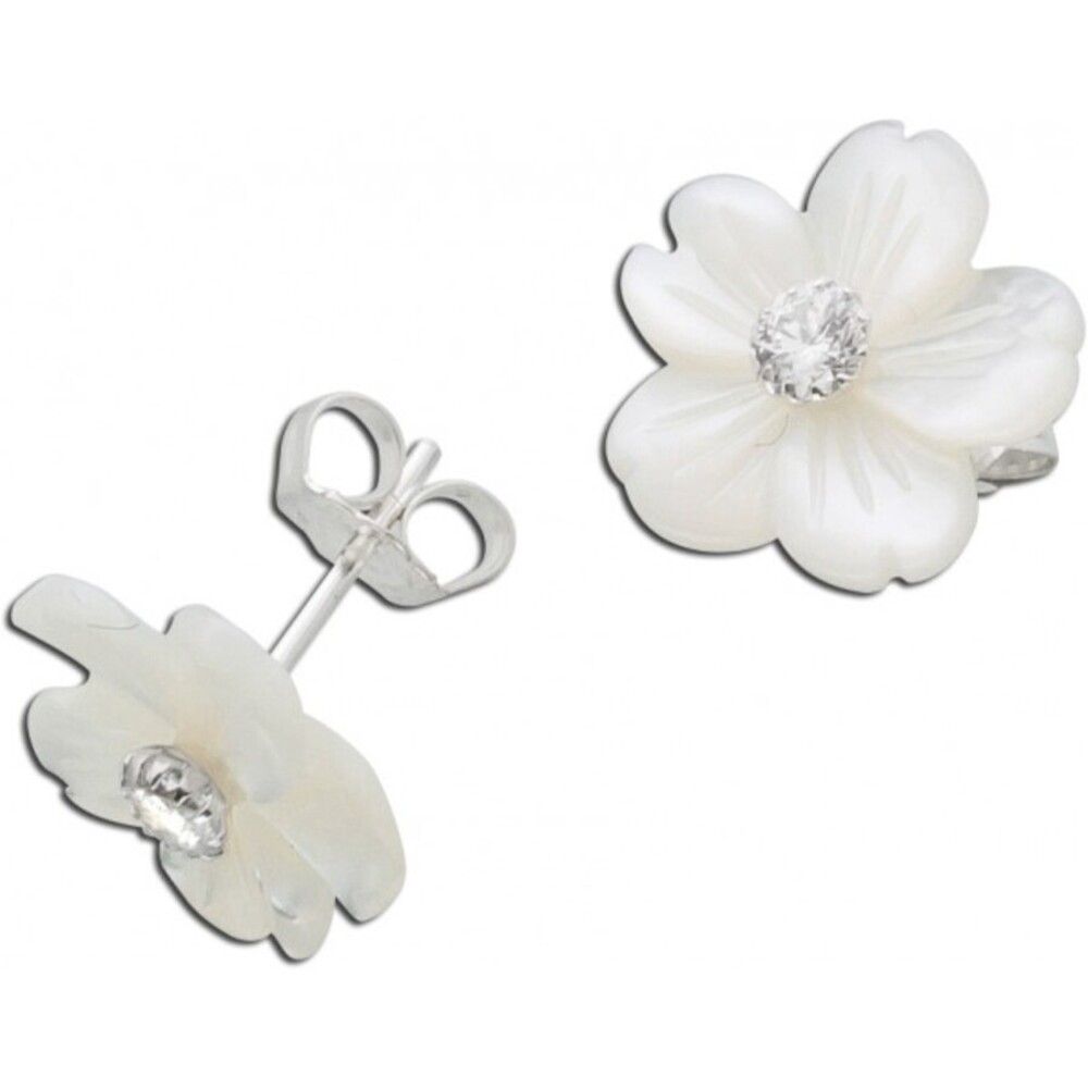 Weiße Perlmutt Blumen Ohrstecker Silber 925/- Zirkonia Edelsteinschmuck 1