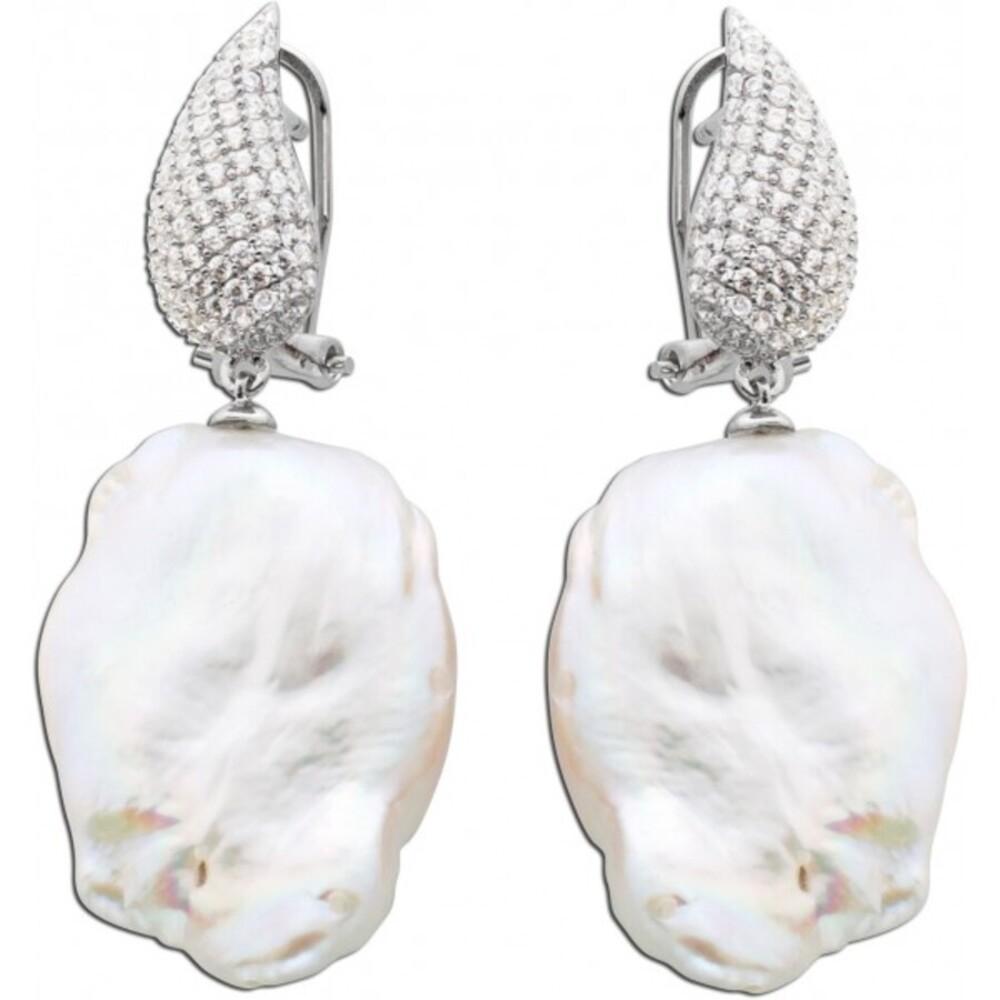 Perlen-Ohrhänger Ohrringe Damen Silber 925 Brisur weisse Suesswasserzuchtperle Barockform klare weisse Zirkonia _01