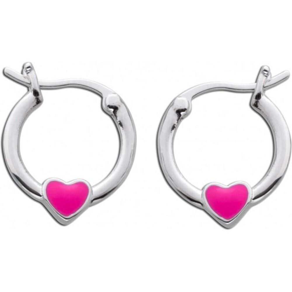 Herz Kindercreolen pink emailliert Sterling Silber 925 1