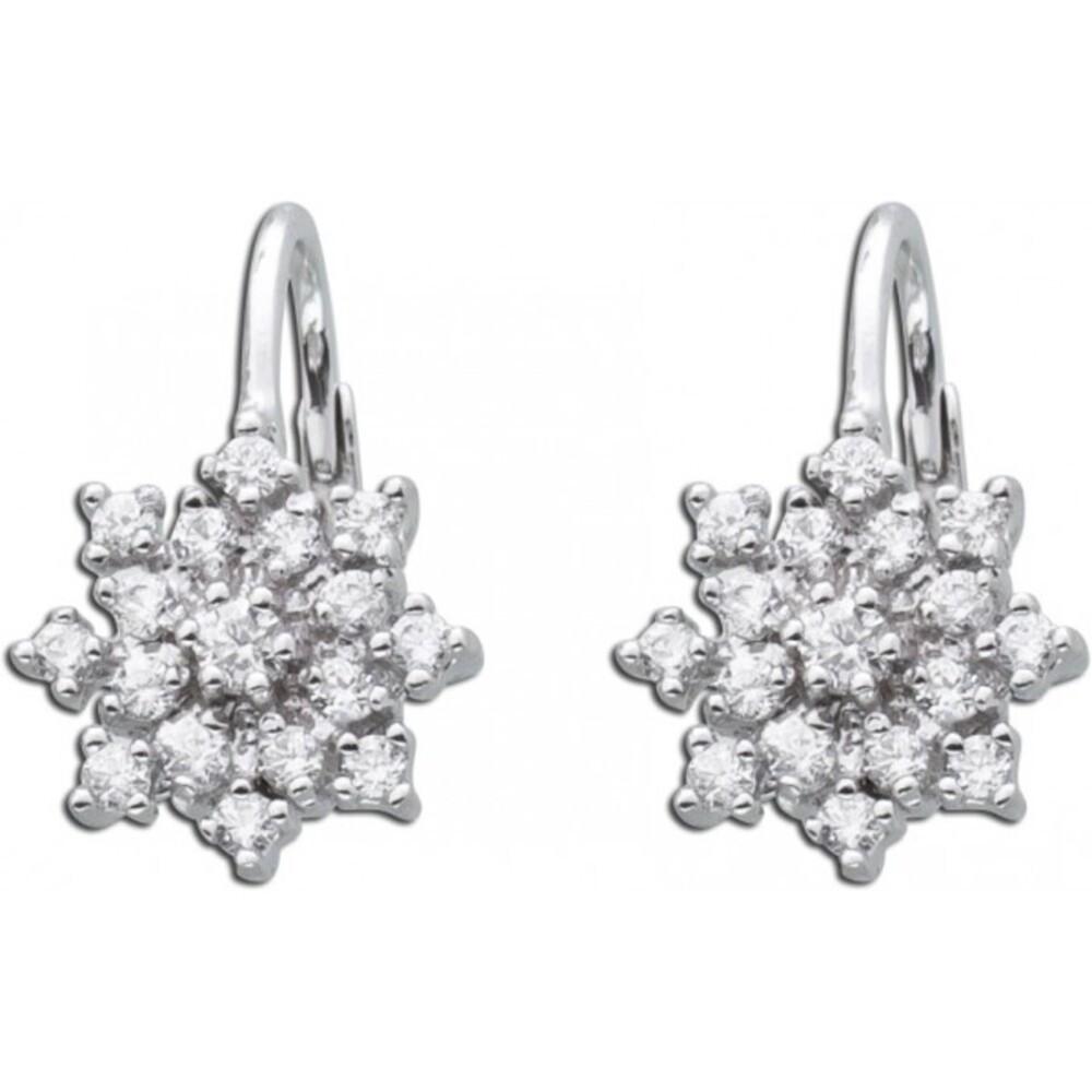 Sternförmige Ohrhänger weiße Zirkonia Ohrringe Sterling Silber 925  1