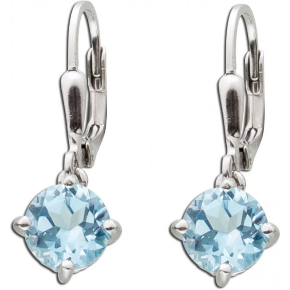 Blaue Solitär Ohrhänger  Silber 925 Blautopas Edelstein blauer
