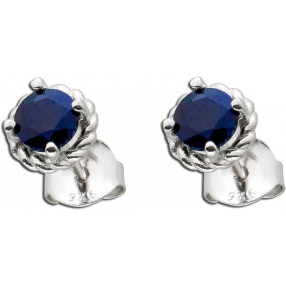 Ohrstecker/Ohrschmuck Sterling Silber 925 nachtblauer Saphier