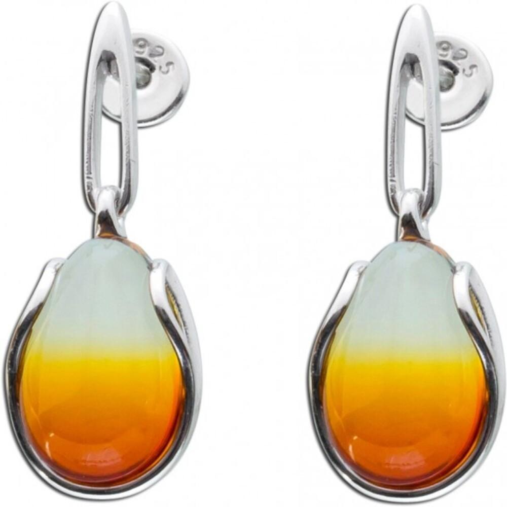 Braune Bernsteinohrhänger Ohrringe Edelsteinohrstecker Silber 925 tropfenförmig Cabochon leichter Farbverlauf_01