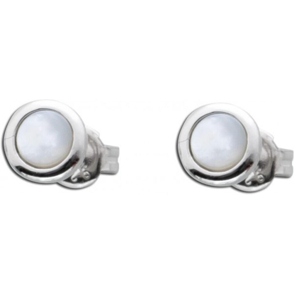 Edelstein Ohrringe weiß Silber 925 Perlmutt Ohrstecker rund_01