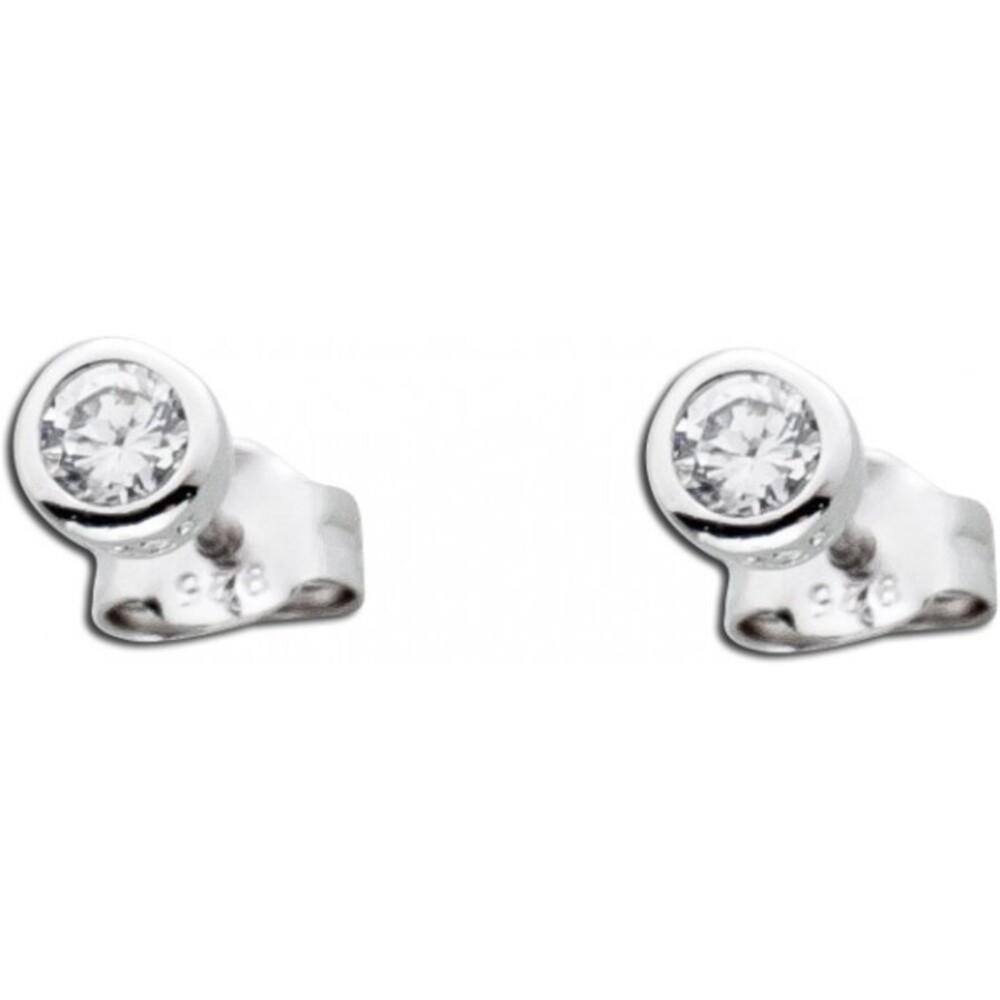 Solitär Ohrstecker Silber 925 Ohrringe Diamant Optik weiß Zirkonia_01