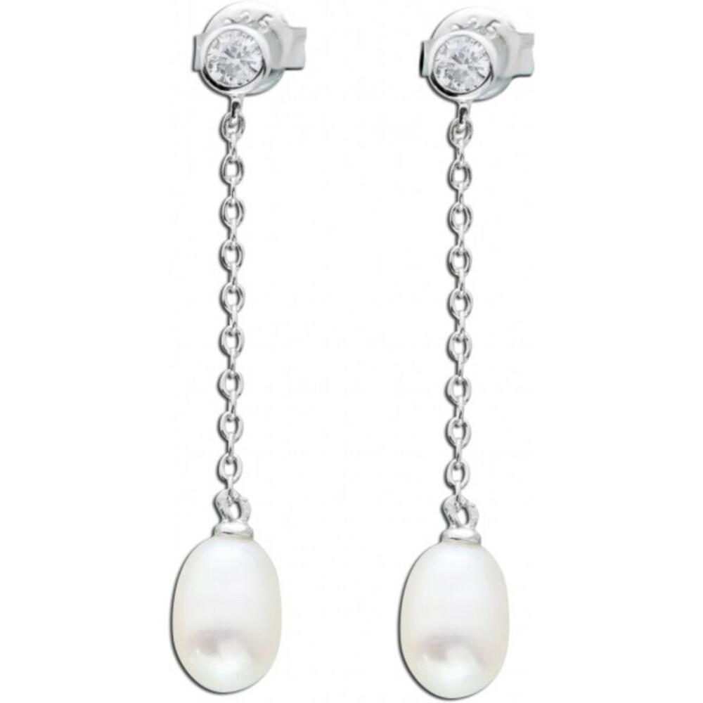 Perlen Ohrringe Silber 925 Ohrstecker weiß Zirkonia_01