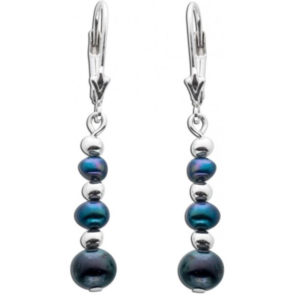 Perlen Ohrhänger schwarz anthrazit Silber 925 Süßwasserzuchtperle_01